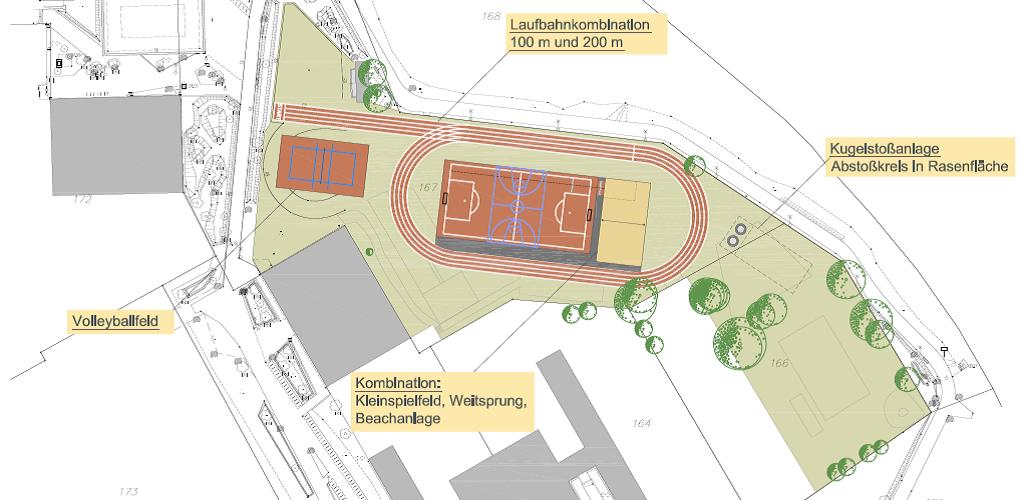 Variante  – Kombination Beachvolleyball, Weitsprunganlage und Kleinspielfeld